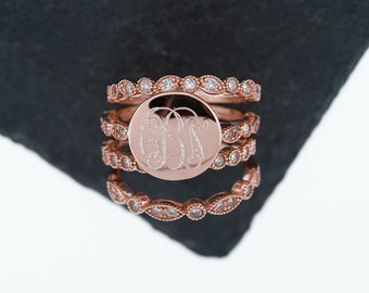 925 Silver CZ Stacking Monogram Ring, Wedding Set, Monogram Stackable Ring, Art Deco, Rose Gold