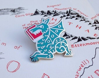 Book Lover Gift - Blue Book Wyrm enamel pin - gifts for readers