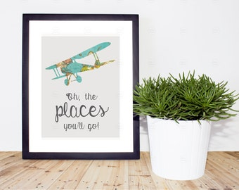 "Printable Vintage Airplane Nursery Image.  ""Oh, the places you'll go!"""