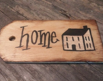 primitive home saltbox house wooden gift tag