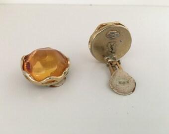 YSL Vintage Yellow glipoix glass earings