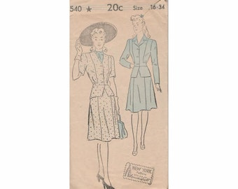 1940's New York 540 Misses Skirt and Jacket Vintage Pattern Size 16