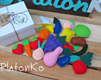 Felt Fruits, vegetables-toys with magnets!