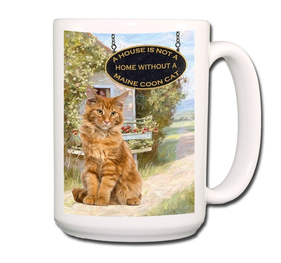 Maine Coon Cat a House is Not a Home Large 15 oz Coffee Mug No 2