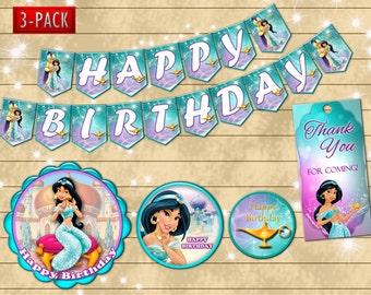 Jasmine label - DIY princess jasmine birthday party decoration - banner- favor tag- Digital file YOU PRINT