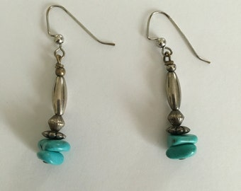 Vintage earrings with turquoise beads