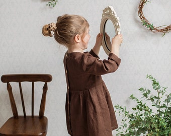 Linen dress with wooden buttons at the back brown, cute linen dress girl, linen dress toddler, linen dress baby
