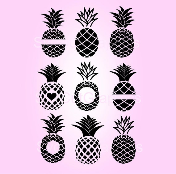 SVG Pineapple Monogram Frame Svg Cut Files, Svg Files For