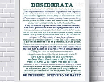 Desiderata - Printable Wall Art, Instant Download, Max Ehrmann 1927, Inspirational Poem Printable, Go Placidly Amid, Printable Desiderata