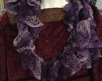 Hand made scarf purple to wear over blouse to dress it up