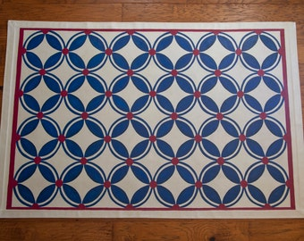 Navy and Cranberry Circle Pattern Floor Cloth