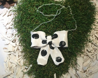 bow with dots necklace , polymer clay, handmade