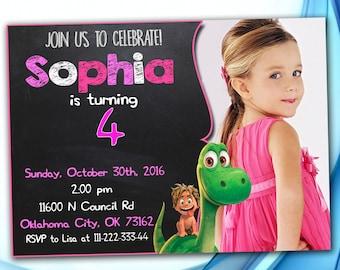 Good dinosaur Invitation Girl, Good Dinosaur Birthday, The Good Dinosaur Birthday Party, The Good Dinosaur Birthday Party