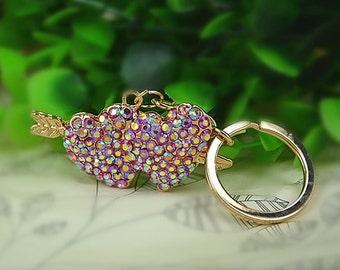 Jewel of bag 'DOUBLE heart' key ring rhinestones with Cupid arrow
