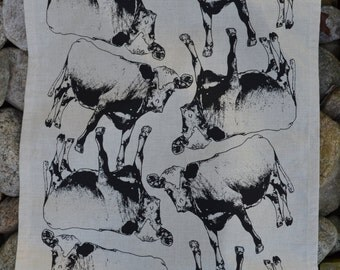 Hand screen printed tea towel, Cosy Cow