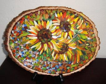 Colorful Sunny flowers Wood Painting (original) FREE SHIPPING