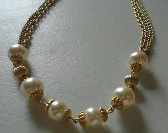 Vintage Chains with Faux Pearls necklace, 28 inches