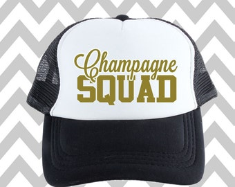Champagne Squad Trucker Hat Bridal Party Snapback Custom Trucker Bachelorette party Hat Wedding Party Trucker Bridal Party Hat Champagne Hat