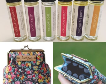 Essential oil MOOD roller bottle blends kit with clutch + essential oil usage guide.  Choose any 6 blends!  Made with certified pure oils.