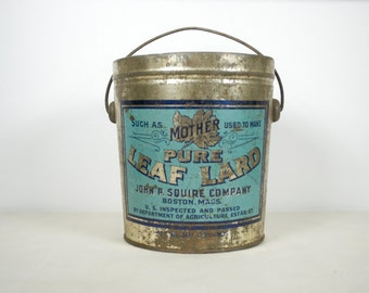 Vintage Advertising Lard Tin Pail, Mothers Pure Leaf Lard made by John P. Squire Co. of Boston Mass.