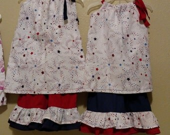 STAR SPANGLED Girls' pillowcase dress and double ruffle capris.