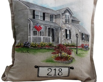 CUSTOM HOUSE PORTRAIT Pillow, Personalized Gift,  Hand Painted Embroidered Detail