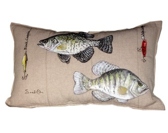 WHITE / BLACK CRAPPIE Fish Pillow Cover, Father's Day Gift, Decorative Fish Pillow Sham