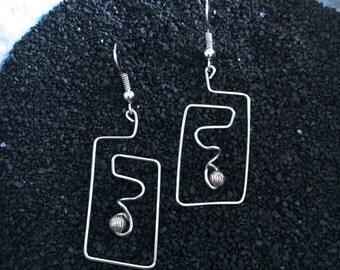 Silver Wire Earrings With Silver Bead - Unique Wearable Art!