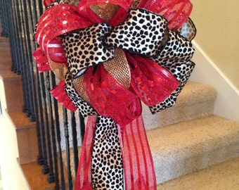 Christmas tree bow wreath bow bannister bow elegant bow tree topper present topper red bow black bow large bow leopard bow animal print bow