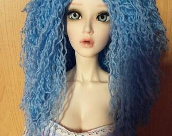 Blue thread wig for 1/3 bjd dolls