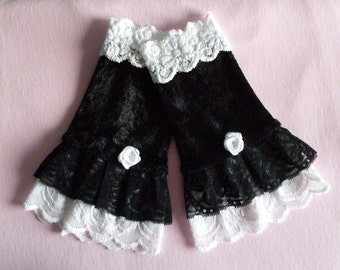 Arm warmers velvet top black white gothic lolita #Satin #Rose layered look #Elfe