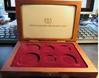 1992 US Mint Olympic 6 Coin Proof Set Boxes and Certificate of Autheticity Only **NO COINS**