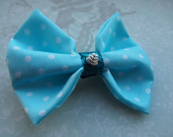 Small Blue and White Polka Dot Bow - Hair Accessory or Brooch