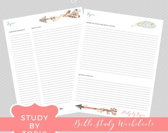 Study by Topic // Bible Study Worksheets // Arrows Design