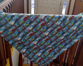 Baby / Toddler Blanket~ fleece,flannel with cars,trucks,planes print