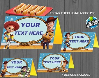 Toy Story, Instant, Food Tents, Tag, Label, Birthday, custom, invitation, Editable, Sticker, Favors, Table tent, Buzz Lightyear, Woody