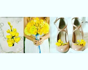 wedding flower, bride bouquet, bride shoes decor, yellow bride bouquet, rustic bouquet, yelloe bride, calla bride bouquet, bridesmaid