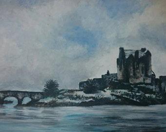 Eilean Donan Castle On A Snowy Day In Acrylic Paint - Prints