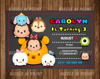 chalkboard Tsum Tsum Birthday Invitation, Printable Tsum Tsum party invitation, Tsum Tsum invitation