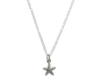 Tiny Starfish Charm Necklace / Sterling Silver