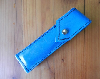 Straight Razor Case, leather, snap, blue, toiletry, storage