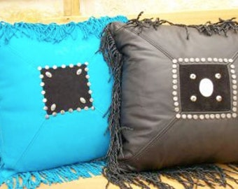 Leather Fringed Western Pillows