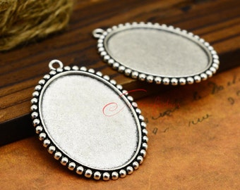 5pcs--35x45m Handmade Antique Silver Oval Bezel Tray Charm Pendants , Cabochon Base Settings  LM045-5021