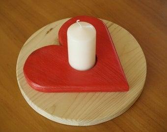 Candle Holder Heart, wood, round, 23 cm through.