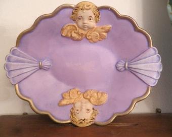 Scioto trinket soap dish with cherubs