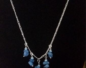 Cobalt pebble necklace /earring set (B11)