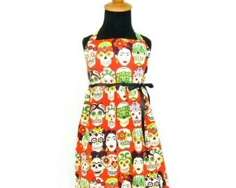 Sugar Skulls and Frida Faces Girls Halter Dress