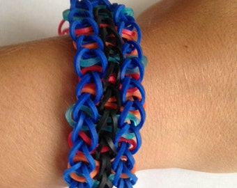 Blue Double-Band Rubber Band Bracelet