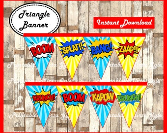 Supergero Banner, printable Supergero party Banner, Supergero triangle Banner