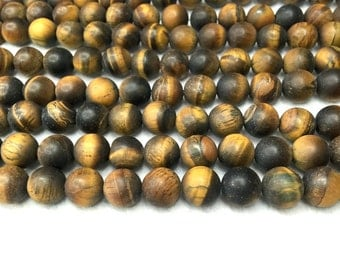 Matte Yellow Tiger eye Beads Natural Yellow Tiger Eye Beads,Yellow Brown Gemstone Beads,6mm 8mm 10mm Tiger Eye Mala Beads Mens Bracelet bead